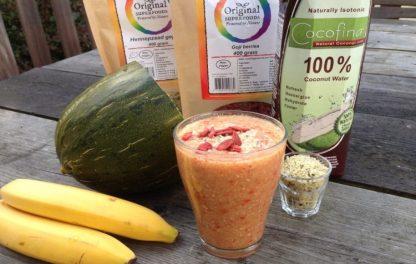 Meloen smoothie met kokoswater en banaan