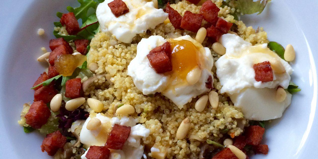 Glutenvrije lauwwarme salade met geitenkaas