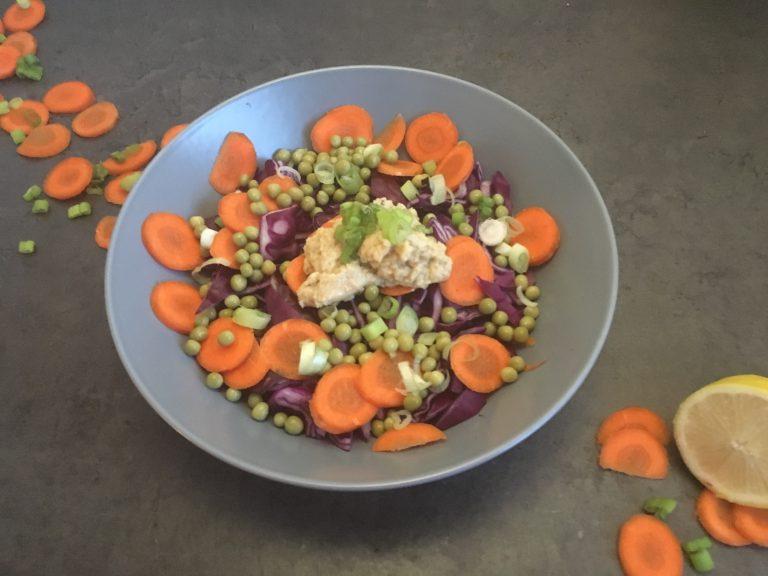 Rode kool salade met doperwtjes